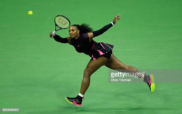 Serena Williams of the United States returns a shot against Karolina Pliskova of the Czech Republic during her Women's Singles Semifinal Match on Day...