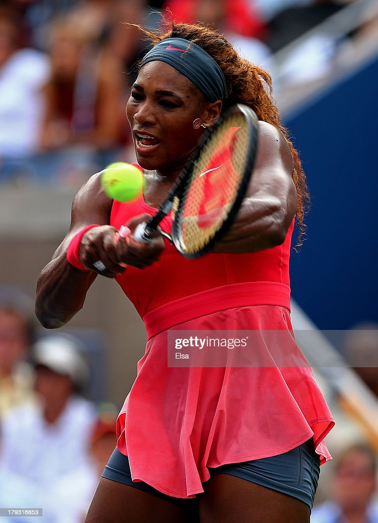 Serena Williams of the United States returns a shot during her women's singles fourth round match against Sloane Stephens of United States on Day Seven of the 2013 US Open at USTA Billie Jean King National Tennis Center on September 1, 2013 in the Flushing neighborhood of the Queens borough of New York City.