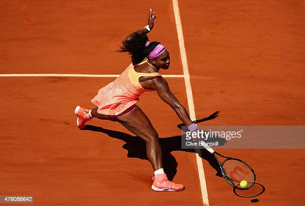 Serena Williams of the United States returns a shot in the Women's Singles Final against Lucie Safarova of Czech Republic on day fourteen of the 2015...