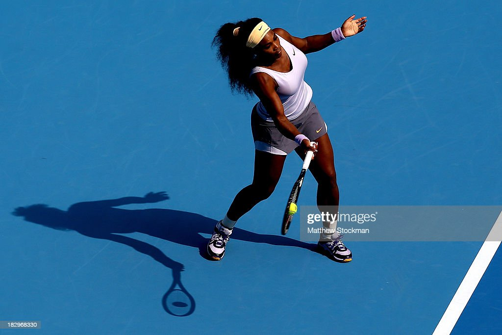 <a gi-track='captionPersonalityLinkClicked' href=/galleries/search?phrase=Serena+Williams+-+Tennis+Player&family=editorial&specificpeople=171101 ng-click='$event.stopPropagation()'>Serena Williams</a> of the United States returns a shot to Maria Kirilenko of Russia during day six of the 2013 China Open at the National Tennis Center on October 3, 2013 in Beijing, China.