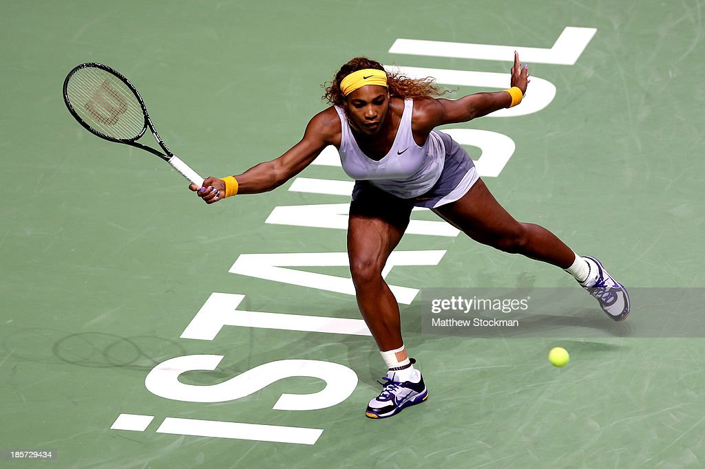 <a gi-track='captionPersonalityLinkClicked' href=/galleries/search?phrase=Serena+Williams+-+Tennis+Player&family=editorial&specificpeople=171101 ng-click='$event.stopPropagation()'>Serena Williams</a> of the United States returns a shot to Petra Kvitova of Czech Republic during day three of the TEB BNP Paribas WTA Championships at the Sinan Erdem Dome on October 24, 2013 in Istanbul, Turkey.