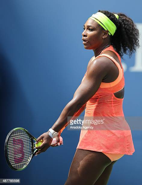 Serena Williams of the United States returns a shot to Roberta Vinci of Italy during their Women's Singles Semifinals match on Day Twelve of the 2015...