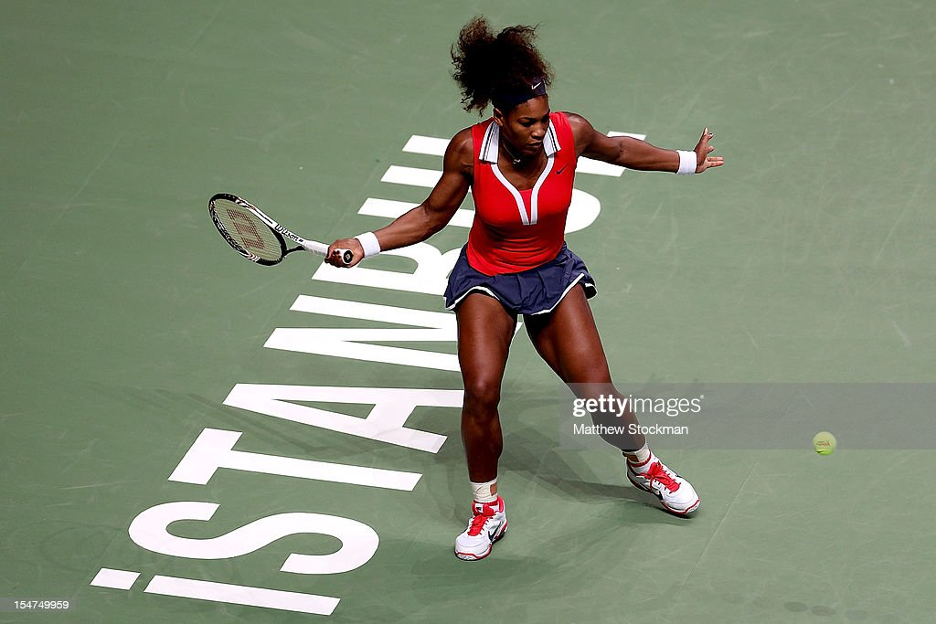 <a gi-track='captionPersonalityLinkClicked' href=/galleries/search?phrase=Serena+Williams&family=editorial&specificpeople=171101 ng-click='$event.stopPropagation()'>Serena Williams</a> of the United States returns a shot to Victoria Azarenka of Belarus in round robin play during the TEB BNP Paribas WTA Championships at the Sinan Erdem Dome October 25, 2012 in Istanbul, Turkey.
