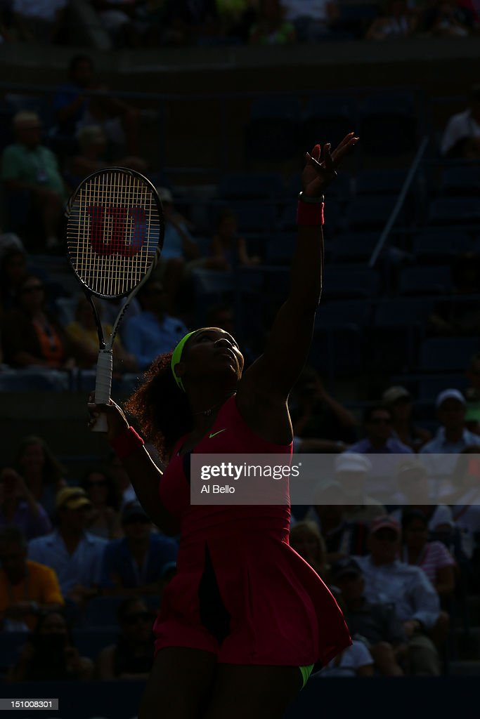 <a gi-track='captionPersonalityLinkClicked' href=/galleries/search?phrase=Serena+Williams&family=editorial&specificpeople=171101 ng-click='$event.stopPropagation()'>Serena Williams</a> of the United States serves against Maria Jose Martinez Sanchez of Spain during their women's singles second round match on Day Four of the 2012 US Open at USTA Billie Jean King National Tennis Center on August 30, 2012 in the Flushing neigborhood of the Queens borough of New York City.