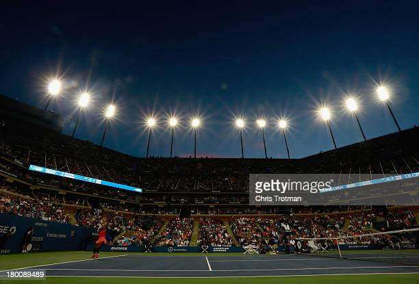 Serena Williams of the United States serves during her women's singles final match against Victoria Azarenka of Belarus on Day Fourteen of the 2013...