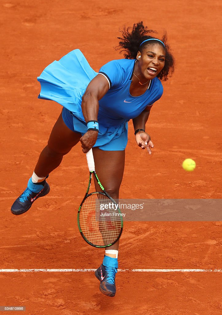 <a gi-track='captionPersonalityLinkClicked' href=/galleries/search?phrase=Serena+Williams&family=editorial&specificpeople=171101 ng-click='$event.stopPropagation()'>Serena Williams</a> of the United States serves during the Ladies Singles third round match against Kristina Mladenovic of France on day seven of the 2016 French Open at Roland Garros on May 28, 2016 in Paris, France.
