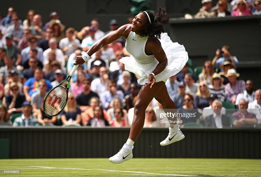 <a gi-track='captionPersonalityLinkClicked' href=/galleries/search?phrase=Serena+Williams+-+Tennis+Player&family=editorial&specificpeople=171101 ng-click='$event.stopPropagation()'>Serena Williams</a> of The United States serves during the Ladies Singles first round match against Amra Sadikovic of Switzerland on day two of the Wimbledon Lawn Tennis Championships at the All England Lawn Tennis and Croquet Club on June 28, 2016 in London, England.