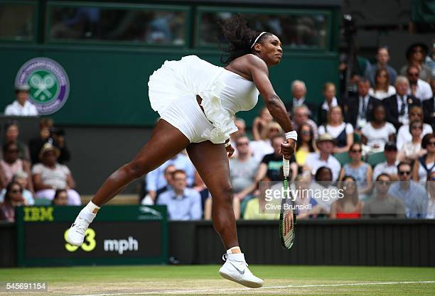 Serena Williams of The United States serves during The Ladies Singles Final against Angelique Kerber of Germany on day twelve of the Wimbledon Lawn...
