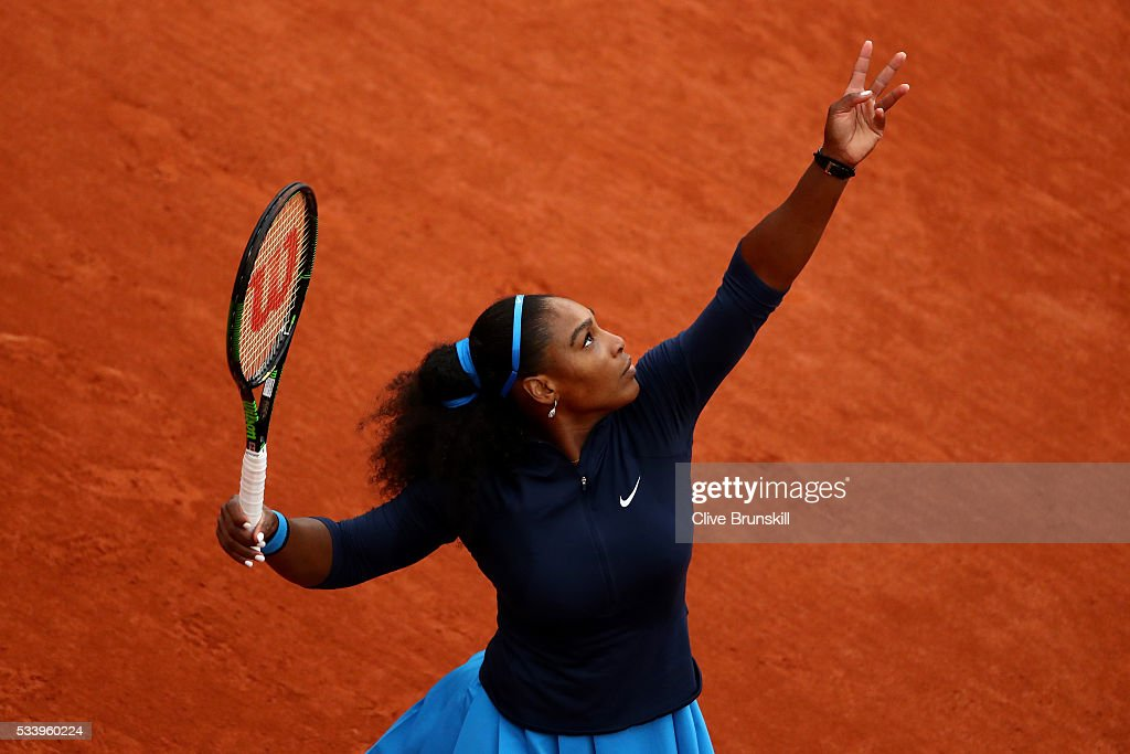 <a gi-track='captionPersonalityLinkClicked' href=/galleries/search?phrase=Serena+Williams&family=editorial&specificpeople=171101 ng-click='$event.stopPropagation()'>Serena Williams</a> of the United States serves during the Women's Singles first round match against Magdalena Rybarikova of Slovakia on day three of the 2016 French Open at Roland Garros on May 24, 2016 in Paris, France.