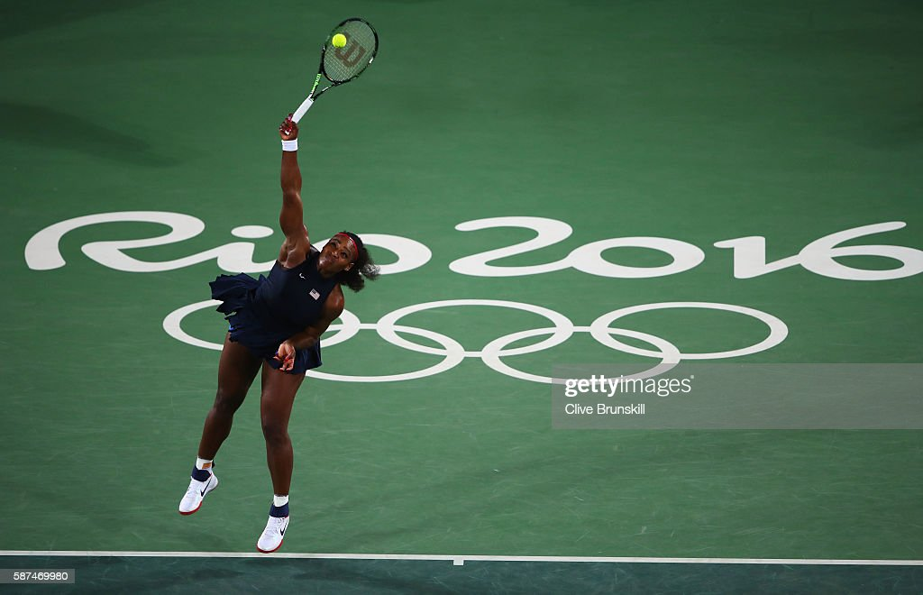Serena Williams of the United States serves during the Women's Singles second round match against Alize Cornet of France on Day 3 of the Rio 2016 Olympic Games at the Olympic Tennis Centre on August 8, 2016 in Rio de Janeiro, Brazil.