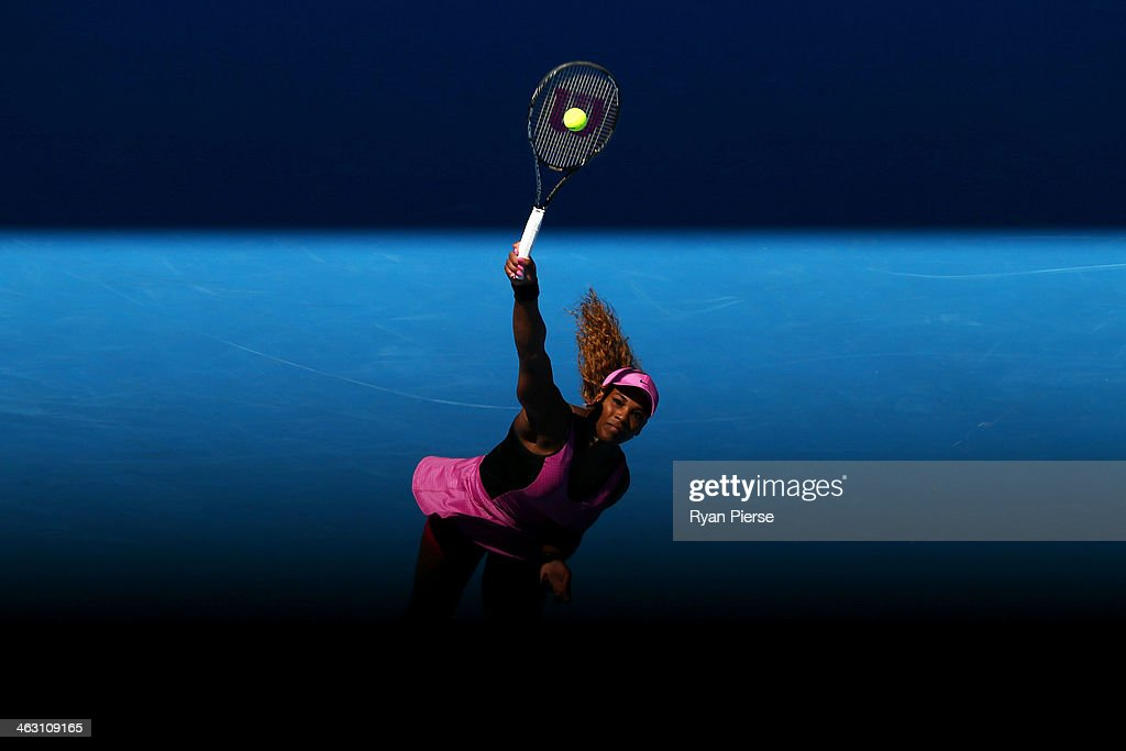 Serena Williams of the United States serves in her third round match against Daniela Hantuchova of Slovakia during day five of the 2014 Australian Open at Melbourne Park on January 17, 2014 in Melbourne, Australia.