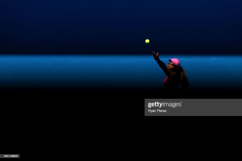 <a gi-track='captionPersonalityLinkClicked' href=/galleries/search?phrase=Serena+Williams+-+Tennis+Player&family=editorial&specificpeople=171101 ng-click='$event.stopPropagation()'>Serena Williams</a> of the United States serves in her third round match against Daniela Hantuchova of Slovakia during day five of the 2014 Australian Open at Melbourne Park on January 17, 2014 in Melbourne, Australia.