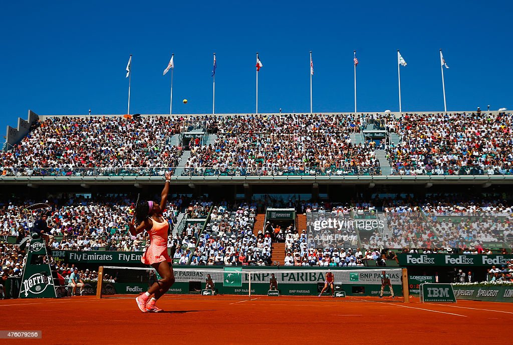 Serena Williams of the United States serves in the Women's Singles Final against Lucie Safarova of Czech Republic on day fourteen of the 2015 French...