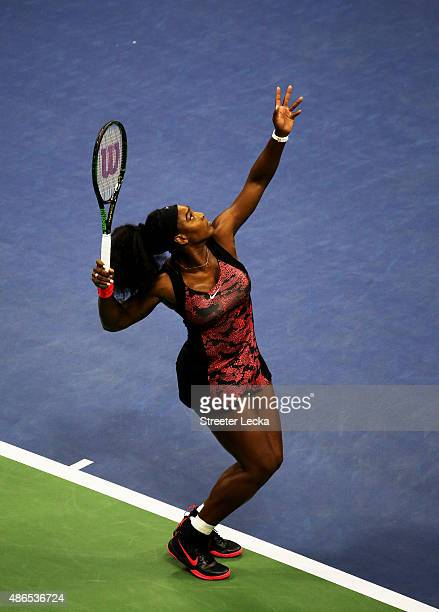Serena Williams of the United States serves to Bethanie MattekSands of the United States during their Women's Singles Third Round match on Day Five...