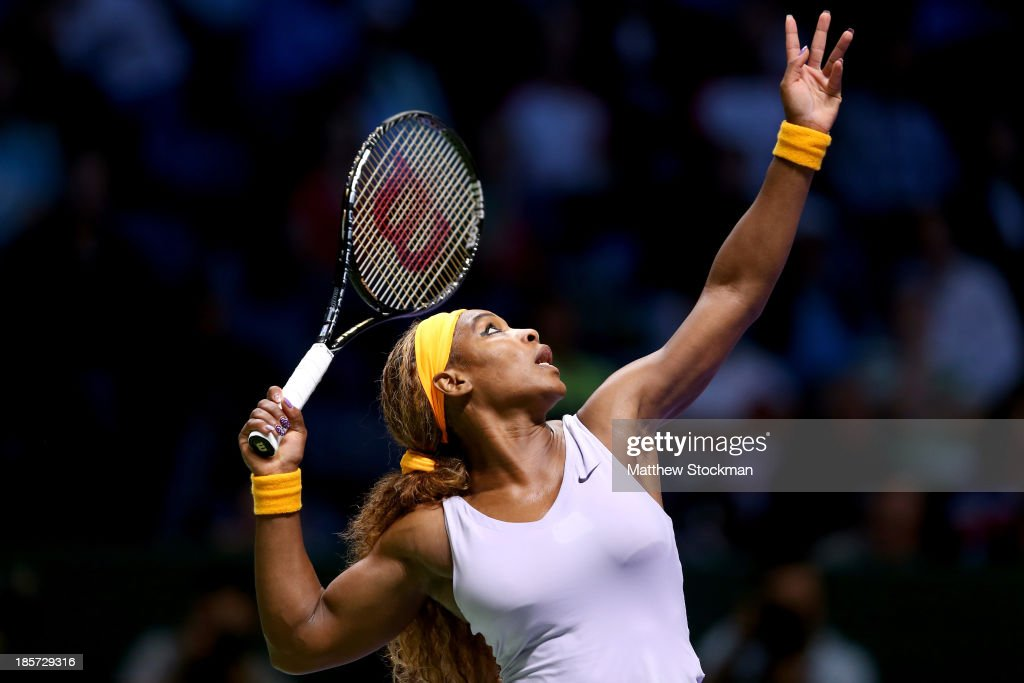 <a gi-track='captionPersonalityLinkClicked' href=/galleries/search?phrase=Serena+Williams+-+Tennis+Player&family=editorial&specificpeople=171101 ng-click='$event.stopPropagation()'>Serena Williams</a> of the United States serves to Petra Kvitova of Czech Republic during day three of the TEB BNP Paribas WTA Championships at the Sinan Erdem Dome on October 24, 2013 in Istanbul, Turkey.