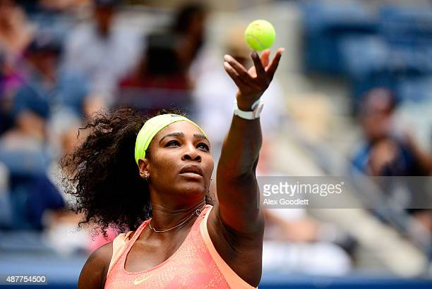 Serena Williams of the United States serves to Roberta Vinci of Italy during their Women's Singles Semifinals match on Day Twelve of the 2015 US Open...