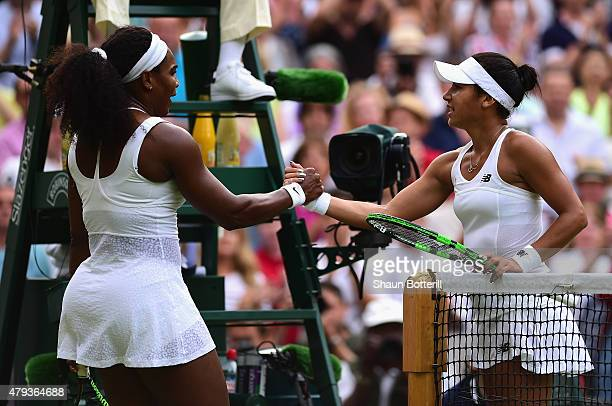Serena Williams of the United States shakes hands after victory with Heather Watson of Great Britain after their Ladies' Singles Third Round match...