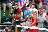 Serena Williams of the United States shakes hands with Caroline Wozniacki of Denmark in the Quarterfinals of Women's Singles Tennis on Day 6 of the...