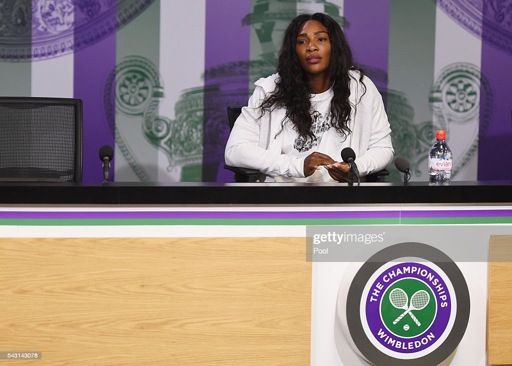 <a gi-track='captionPersonalityLinkClicked' href=/galleries/search?phrase=Serena+Williams+-+Tennis+Player&family=editorial&specificpeople=171101 ng-click='$event.stopPropagation()'>Serena Williams</a> of the United States speaks to the media during a press conference prior to the Wimbledon Lawn Tennis Championships at the All England Lawn Tennis and Croquet Club on June 26, 2016 in London, England.