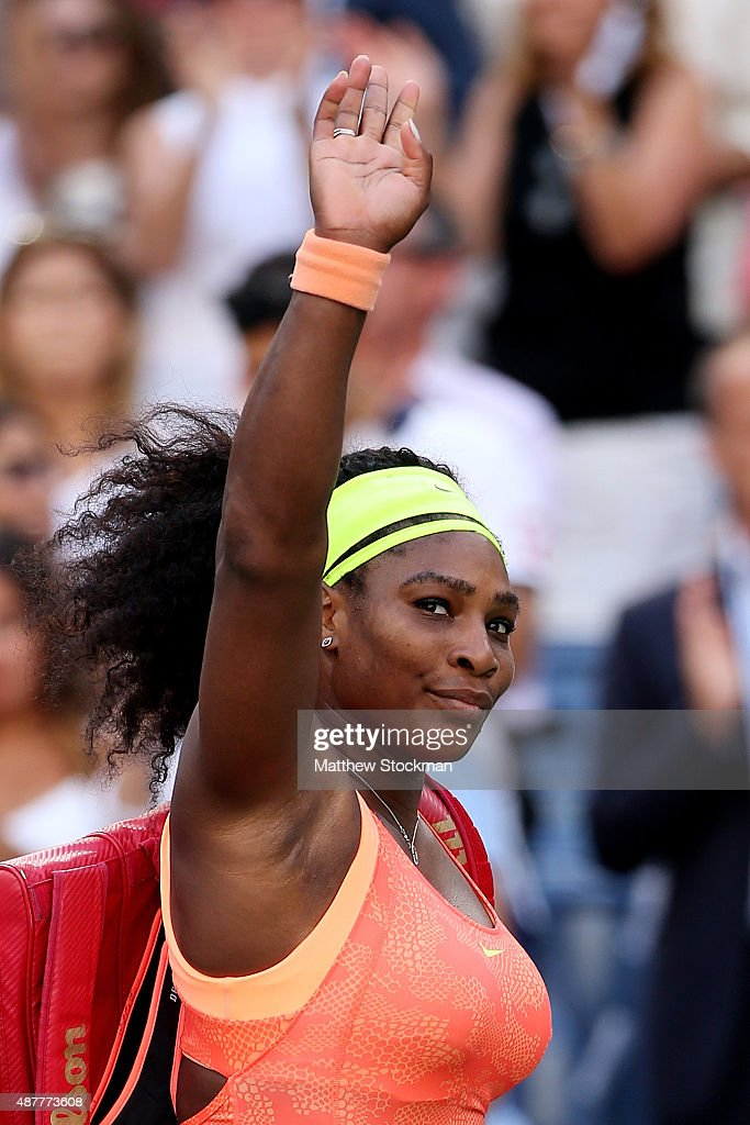 <a gi-track='captionPersonalityLinkClicked' href=/galleries/search?phrase=Serena+Williams&family=editorial&specificpeople=171101 ng-click='$event.stopPropagation()'>Serena Williams</a> of the United States walks off of the court after loosing to Roberta Vinci of Italy during their Women's Singles Semifinals match on Day Twelve of the 2015 US Open at the USTA Billie Jean King National Tennis Center on September 11, 2015 in the Flushing neighborhood of the Queens borough of New York City.