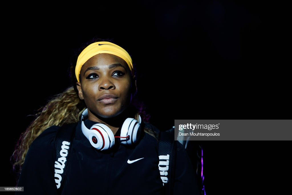 <a gi-track='captionPersonalityLinkClicked' href=/galleries/search?phrase=Serena+Williams&family=editorial&specificpeople=171101 ng-click='$event.stopPropagation()'>Serena Williams</a> of the United States walks out to face Angieszka Radwanska of Poland during day two of the TEB BNP Paribas WTA Championships at the Sinan Erdem Dome October 23, 2013 in Istanbul, Turkey.
