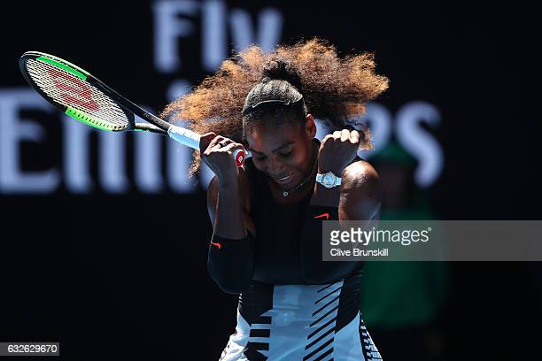 Serena Williams of the Unites States celebrates winning her quarterfinal match against Johanna Konta of Great Britain on day 10 of the 2017...