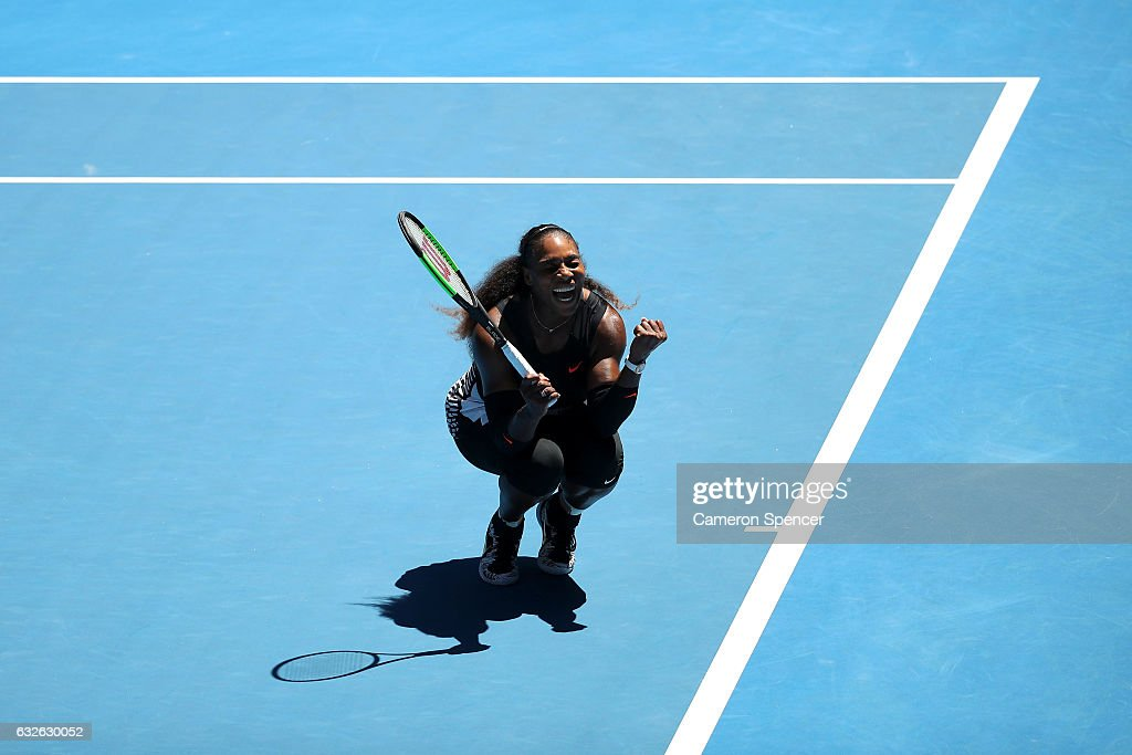 Serena Williams of the Unites States celebrates winning her quarterfinal match against Johanna Konta of Great Britain on day 10 of the 2017 Australian Open at Melbourne Park on January 25, 2017 in Melbourne, Australia.