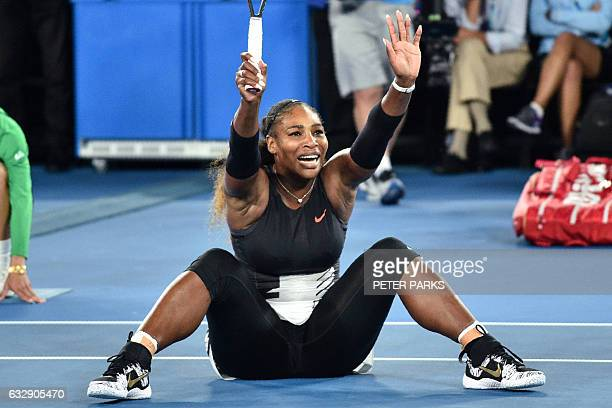 Serena Williams of the US celebrates her victory against Venus Williams of the US during the women's singles final on day 13 of the Australian Open...