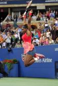 Serena Williams of the US celebrates her win over Victoria Azarenka of Belarus in the 2013 US Open women's singles final at the USTA Billie Jean King...