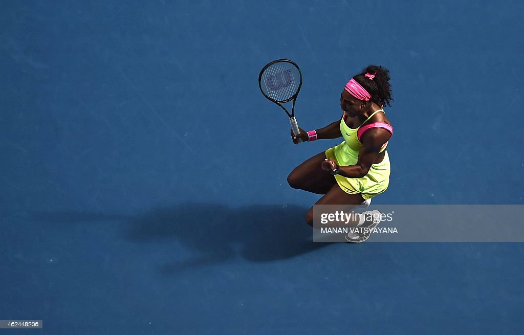 <a gi-track='captionPersonalityLinkClicked' href=/galleries/search?phrase=Serena+Williams+-+Tennis+Player&family=editorial&specificpeople=171101 ng-click='$event.stopPropagation()'>Serena Williams</a> of the US celebrates winning match point against Madison Keys of the US in their women's singles semi-final match on day 11 of the 2015 Australian Open tennis tournament in Melbourne on January 29, 2015.