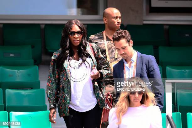 Serena Williams of the US leaves after attending her sister US Venus Williams' tennis match against Japan's Kurumi Nara at the Roland Garros 2017...