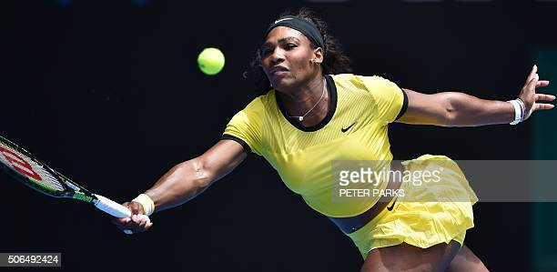 TOPSHOT Serena Williams of the US plays a forehand return during her women's singles match against Russia's Margarita Gasparyan on day seven of the...