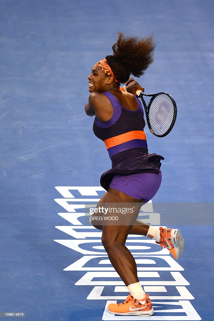 Serena Williams of the US plays a return during her women's singles match against Russia's Maria Kirilenko on the eighth day of the Australian Open tennis tournament in Melbourne on January 21, 2013.
