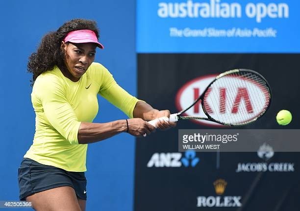 Serena Williams of the US plays a shot during a training session on day twelve of the 2015 Australian Open tennis tournament in Melbourne on January...