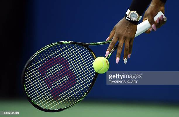 Serena Williams of the US prepares to serve against Karolina Pliskova of Czech Republic during their 2016 US Open Womens Singles semifinal match at...