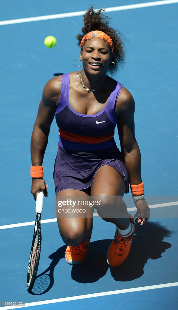 Serena Williams of the US reacts during her women's singles match against Ayumi Morita of Japan on the sixth day of the Australian Open tennis tournament in Melbourne on January 19, 2013.