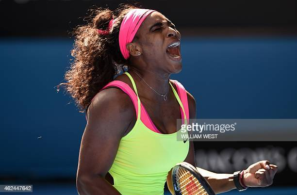 Serena Williams of the US shouts during her women's singles semifinal match against Madison Keys of the US on day eleven of the 2015 Australian Open...
