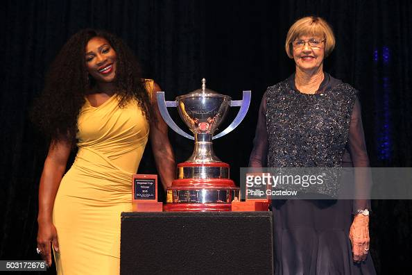 Serena Williams of the USA and former tennis player Margaret Court with the Hopman Cup at the 2016 Hopman Cup Player Party at Perth Crown on January...