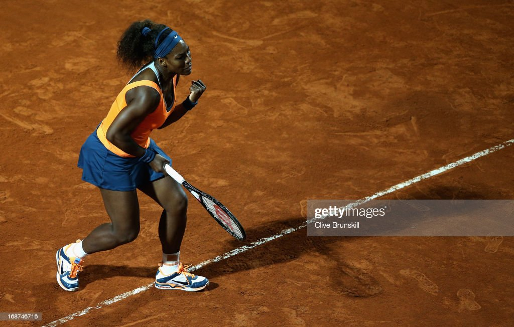 <a gi-track='captionPersonalityLinkClicked' href=/galleries/search?phrase=Serena+Williams&family=editorial&specificpeople=171101 ng-click='$event.stopPropagation()'>Serena Williams</a> of the USA celebrates a point against Laura Robson of Great Britain in their second round match during day three of the Internazionali BNL d'Italia 2013 at the Foro Italico Tennis Centre on May 14, 2013 in Rome, Italy.