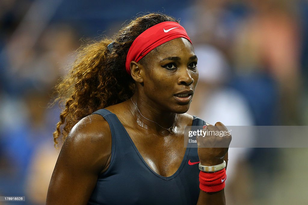 <a gi-track='captionPersonalityLinkClicked' href=/galleries/search?phrase=Serena+Williams+-+Tennis+Player&family=editorial&specificpeople=171101 ng-click='$event.stopPropagation()'>Serena Williams</a> of the USA celebrates a point against Yaroslava Shvedova of Kazakhstan during their women's singles third round match on Day Five of the 2013 US Open at USTA Billie Jean King National Tennis Center on August 30, 2013 in the Flushing neighborhood of the Queens borough of New York City.