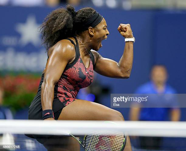 Serena Williams of the USA celebrates her match win over Bethanie MattekSands of the USA on Day Five of the 2015 US Open at the USTA Billie Jean King...