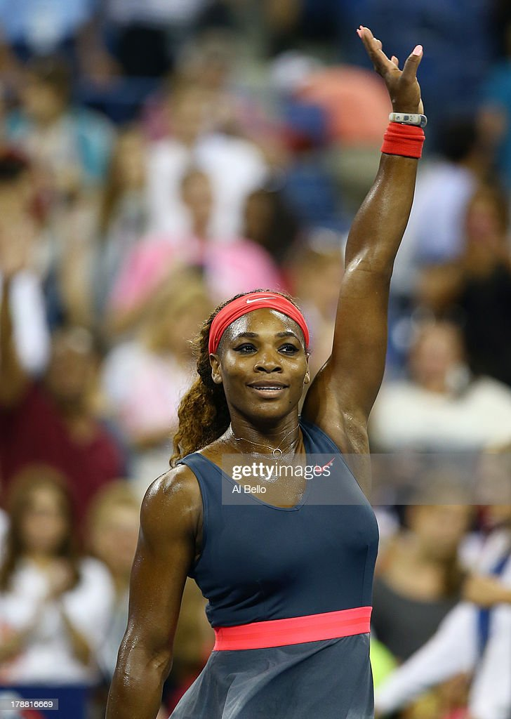 <a gi-track='captionPersonalityLinkClicked' href=/galleries/search?phrase=Serena+Williams+-+Tennis+Player&family=editorial&specificpeople=171101 ng-click='$event.stopPropagation()'>Serena Williams</a> of the USA celebrates her match win over Yaroslava Shvedova of Kazakhstan during their round match on Day Five of the 2013 US Open at USTA Billie Jean King National Tennis Center on August 30, 2013 in the Flushing neighborhood of the Queens borough of New York City.