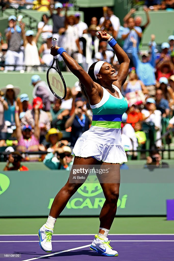 <a gi-track='captionPersonalityLinkClicked' href=/galleries/search?phrase=Serena+Williams+-+Tennis+Player&family=editorial&specificpeople=171101 ng-click='$event.stopPropagation()'>Serena Williams</a> of the USA celebrates match point against Maria Sharapova of Russia during the Womens Final match of the Sony Open on Day 13 at Crandon Park Tennis Center on March 30, 2013 in Key Biscayne, Florida.