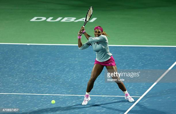 Serena Williams of the USA in action against Jelena Jankovic of Serbia during day four of the WTA Dubai Duty Free Tennis Championships at the Dubai...