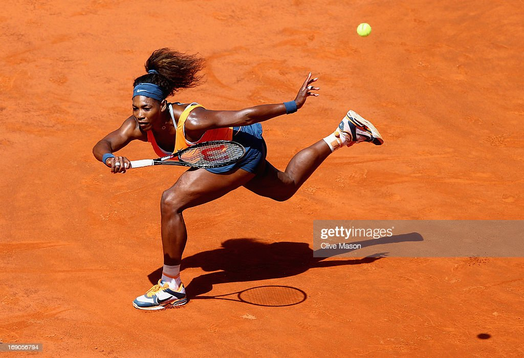 <a gi-track='captionPersonalityLinkClicked' href=/galleries/search?phrase=Serena+Williams&family=editorial&specificpeople=171101 ng-click='$event.stopPropagation()'>Serena Williams</a> of the USA in action during the womens final against Victoria Azarenka of Belarus on day eight of the Internazionali BNL d'Italia 2013 at the Foro Italico Tennis Centre on May 19, 2013 in Rome, Italy.
