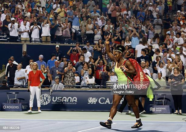 Serena Williams of the USA leaves Centre Court after her defeat to Belinda Bencic of Switzerland during Day 6 of the Rogers Cup at the Aviva Centre...