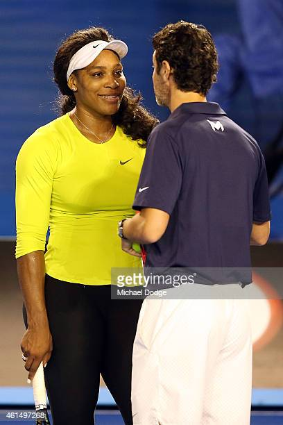 Serena Williams of the USA listens to her coach Patrick Mouratoglou during a practice session ahead of the 2015 Australian Open at Melbourne Park on...