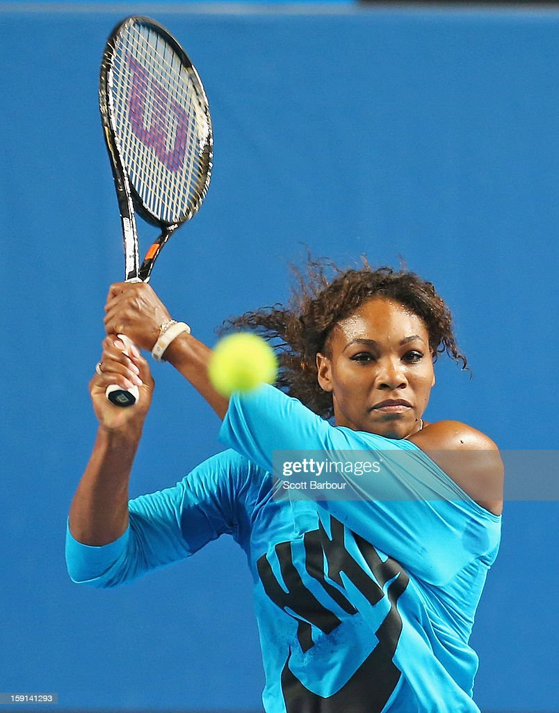 <a gi-track='captionPersonalityLinkClicked' href=/galleries/search?phrase=Serena+Williams+-+Tennis+Player&family=editorial&specificpeople=171101 ng-click='$event.stopPropagation()'>Serena Williams</a> of the USA plays a backhand during a practice session ahead of the 2013 Australian Open at Melbourne Park on January 9, 2013 in Melbourne, Australia.
