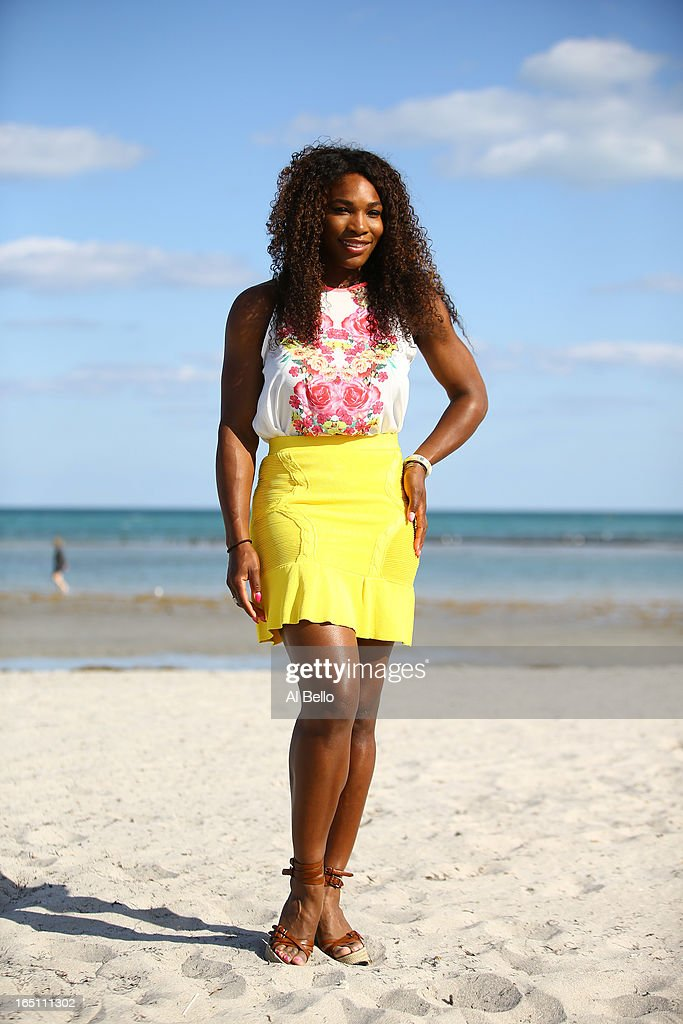 Serena Williams of the USA poses at Crandon Park beach after defeating Maria Sharapova of Russia after the Womens Final match of the Sony Open on Day 13 at Crandon Park Tennis Center on March 30, 2013 in Key Biscayne, Florida.