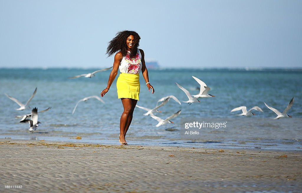 <a gi-track='captionPersonalityLinkClicked' href=/galleries/search?phrase=Serena+Williams+-+Tennis+Player&family=editorial&specificpeople=171101 ng-click='$event.stopPropagation()'>Serena Williams</a> of the USA poses at Crandon Park beach after defeating Maria Sharapova of Russia after the Womens Final match of the Sony Open on Day 13 at Crandon Park Tennis Center on March 30, 2013 in Key Biscayne, Florida.